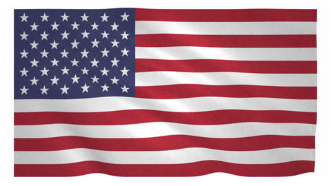 Flag of the United States waving on white background Animation