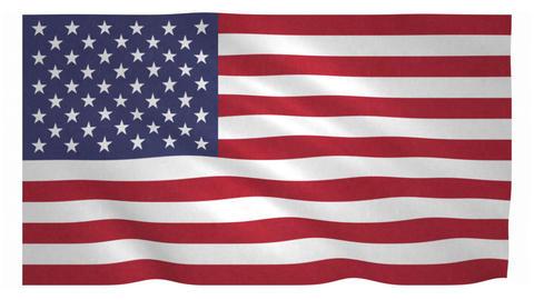 Flag of the United States waving on white background Animation