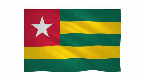 Flag of Togo waving on white background Animation