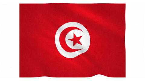 Flag of Tunisia waving on white background Animation
