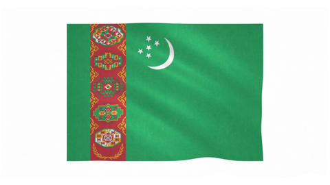 Flag of Turkmenistan waving on white background Animation