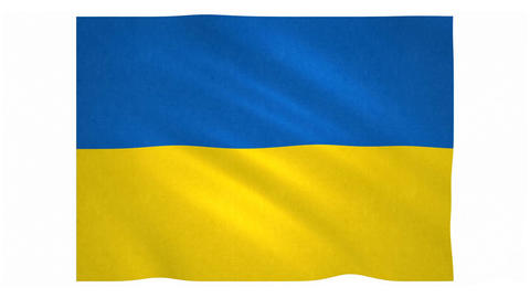 Flag of Ukraine waving on white background Animation