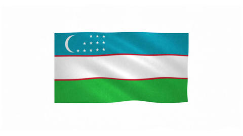 Flag of Uzbekistan waving on white background Animation