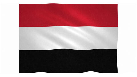 Flag of Yemen waving on white background Animation