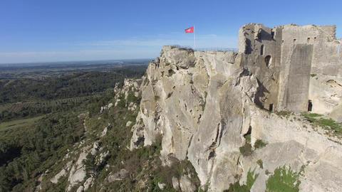 Château des Baux-De-Provence, seen by drone Live Action