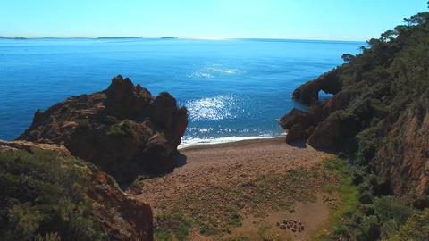 Théoule sur Mer beach, seen by drone Footage