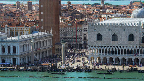 People relaxing on Saint Mark's square in Venice, aerial view, summer cityscape Footage