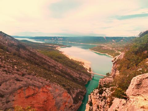 Panoramic view, scene of the Verdon canyon in France Foto