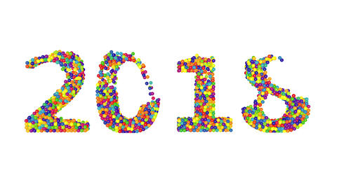3d render animation with colored balls creating 2018 year on a white background Animation