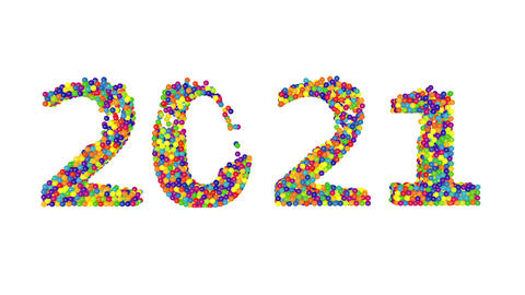 3d render animation with colored balls creating 2021 year on a white background Animation