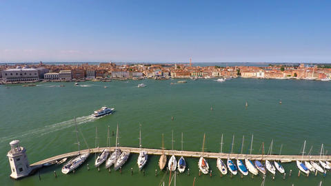 Vaporetto sailing near yacht club in Venice, cruise tour on Grand Canal, tourism Footage
