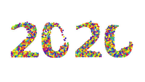 3d render animation with colored balls creating 2020 year on a white background Animation