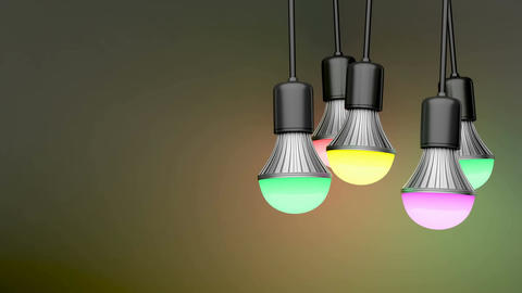 Colorful light bulbs Animation