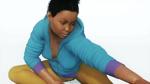 Plus size african woman in stretching yoga pose CG動画素材
