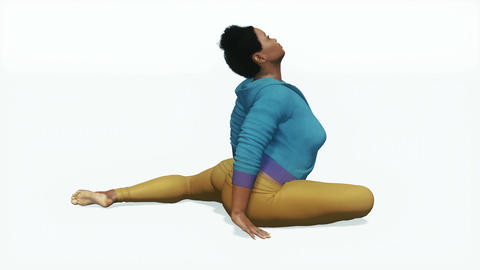 Plus size african woman in easy pigeon pose yoga Animation
