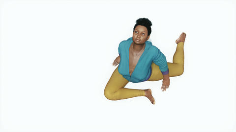 Curvy african woman in pigeon pose yoga top view Animation