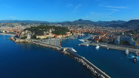Nice and its Port, seen by drone Live Action