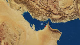 Dubai - United Arab Emirates Zoom In From Space Animation