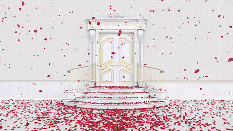 Decorative Magic Door opening with falling red petals on shiny floor Animation