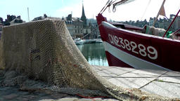Europe France Normandy fishing village of Honfleur 013 fishing nets in sunlight Footage
