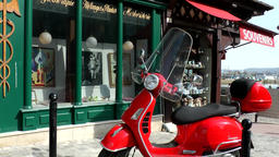 Europe France Normandy fishing village of Honfleur 017 red Italian scooter