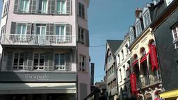 Europe France Normandy fishing village of Honfleur 020 houses corner on piazza Footage