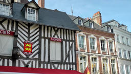 Europe France Normandy fishing village of Honfleur 033 row of old facades ビデオ