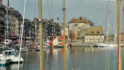Europe France Normandy fishing village of Honfleur 045 sailing masts & museum Footage