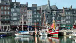 Europe France Normandy fishing village of Honfleur 050 boats and cityscape Footage