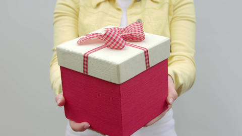 Close-up of a gift in hands Filmmaterial