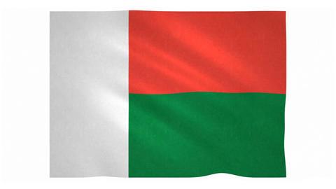 Flag of Madagascar waving on white background Animation
