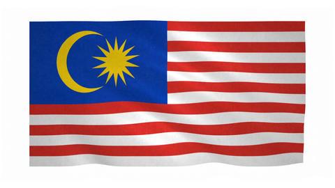 Flag of Malaysia waving on white background Animation