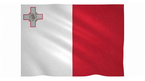 Flag of Malta waving on white background Animation