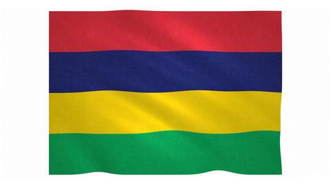 Flag of Mauritius waving on white background Animation