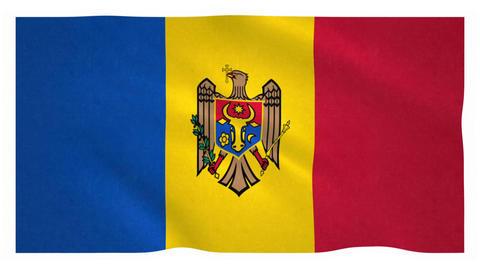 Flag of Moldova waving on white background Animation