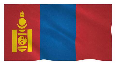 Flag of Mongolia waving on white background Animation
