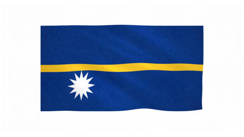 Flag of Nauru waving on white background Animation