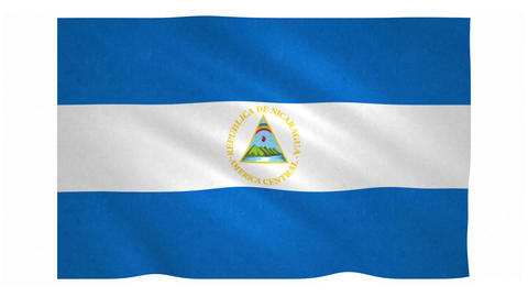 Flag of Nicaragua waving on white background Animation