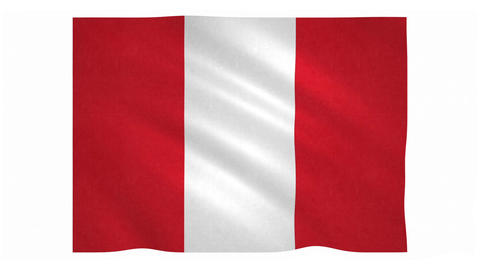 Flag of Peru waving on white background Animation