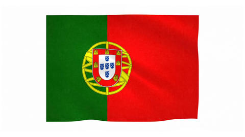 Flag of Portugal waving on white background Animation