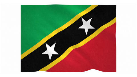 Flag of Saint Kitts and Nevis waving on white background Animation