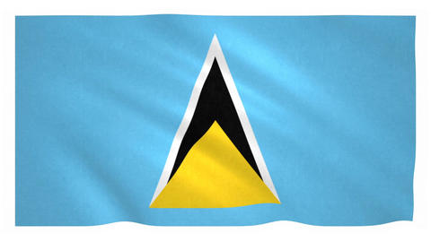 Flag of Saint Lucia waving on white background Animation