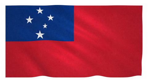 Flag of Samoa waving on white background Animation