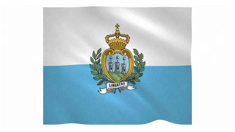 Flag of San Marino waving on white background Animation