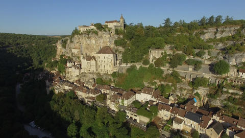 Rocamadour, a summer morning, seen by drone Footage