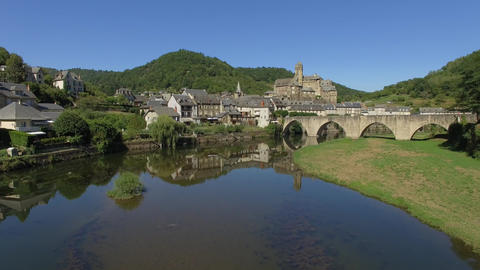 The village of Estaing, seen by drone Footage