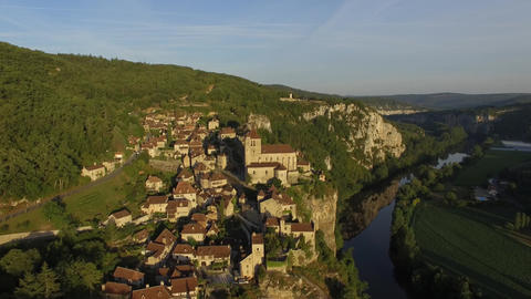 The hilltop village of Saint-Cirq-Lapopie, seen by drone Footage