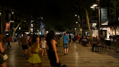Crowd Of People In Central Barcelona City On La Rambla Street At Night Footage