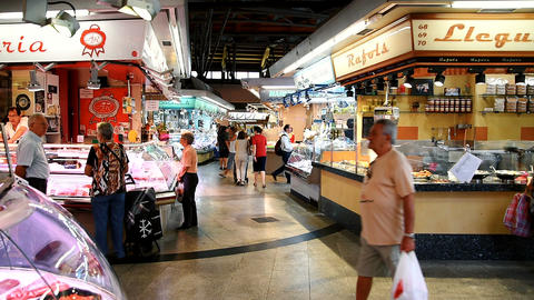 Vendors Selling Market Products In Central Barcelona Marketplace Footage