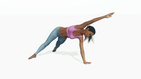 Young sporty african woman in balance yoga pose Animation